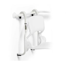 Handicare hangend frame hoogte verstelbaar voor douchezitting, rvs gecoat wit