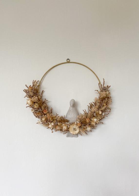 Dried floral wreath bird naturel 2