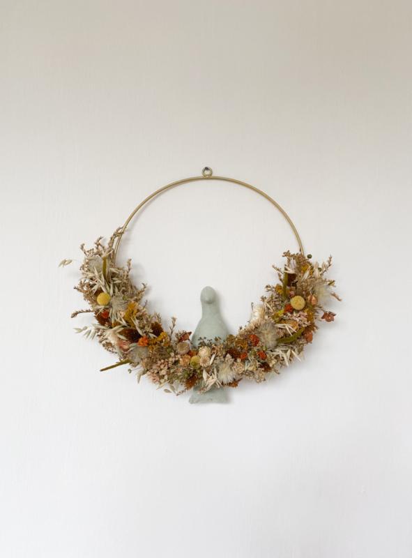 Dried floral wreath bird green
