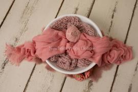 Mooie complete set met witte schaal (roze) (NIEUW)