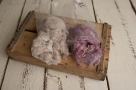 Wol pakket met prop vulling in beige en dusky pink