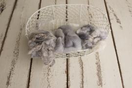 Wol pakket soft grey met fluff, krullen en wol vulling