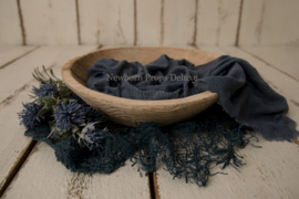 Mooie complete set met Natural Wooden Bowl Carved (blauw) (NIEUW)