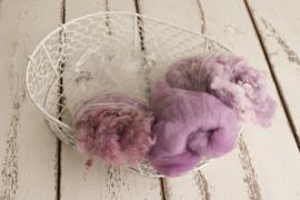 Wol pakket lila en dusty pink met fluff, krullen en wol vulling