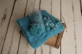 Wol pakket aqua met fluff - krullen en vulling