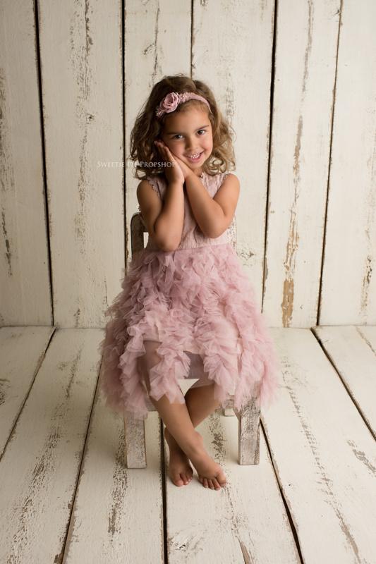 Ella tulle jurk oud roze
