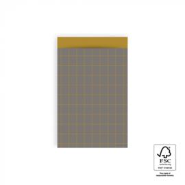 HOP Cadeauzakjes Grid Dark Grey - Retro Yellow - 12 x 19 cm