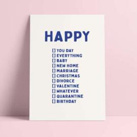 POSTKAART HAPPY YOU DAY, BIRTHDAY, WHATEVER