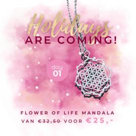 Day 1: Flower of life mandala ketting van € 32,50 voor € 25,-