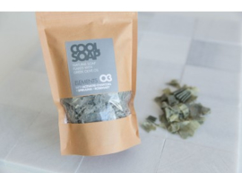 Cool soap 03 - Natural soap flakes with greek olive oil +activated charcoal, spiraling and rosemary