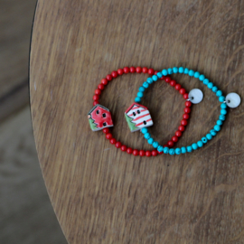 Sweet Homie Christmas armband - red and white