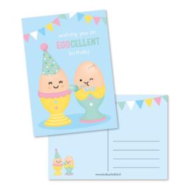 Ansichtkaart - wishing you an EGGcellent birthday