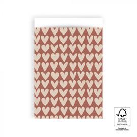 HOP Cadeauzakjes Love - Red / Beige  - 17 x 25 cm