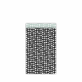 CollectivWarehouse Ethnic Triangles – cadeauzakjes 12 x 19 cm zwart/salie