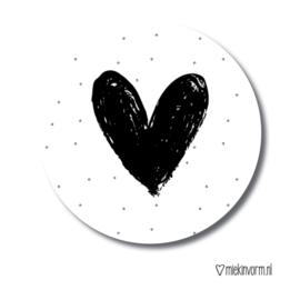 MIEKinvorm stickers - Hart zwart/wit