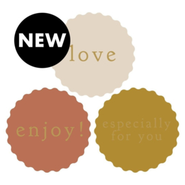 HOP Stickers Multi - Rosette Text Gold (ENG)