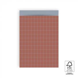 HOP Cadeauzakjes Grid Warm Red - Ice Blue - 17 x 25 cm