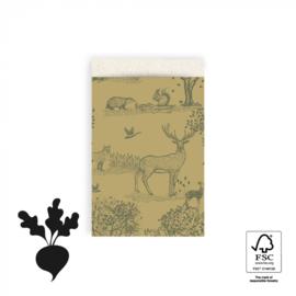 HOP Cadeauzakjes Animals Forest Green - 12 x 19 cm
