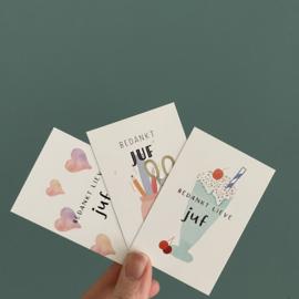 Applepiepieces minikaarten SET - Bedankt lieve juf!