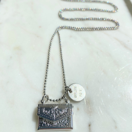 Golden message ketting - silver