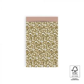 HOP Cadeauzakjes Flowers Liberty - Olive Green / Pink  - 12 x 19 cm
