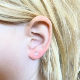 Silver luck oorbellen heart - mini