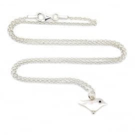 Silver luck snow bird ketting