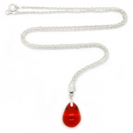Happy tear ketting bright red