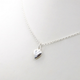 Silver luck silver heart ketting