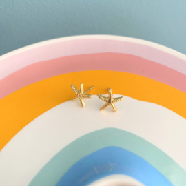 Silver luck oorbellen zeester - goud