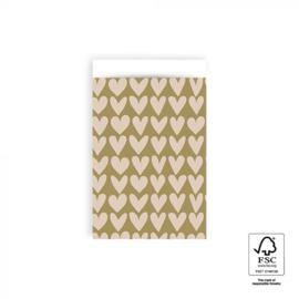 HOP Cadeauzakjes Love - Olive Green / Beige  - 12 x 19 cm