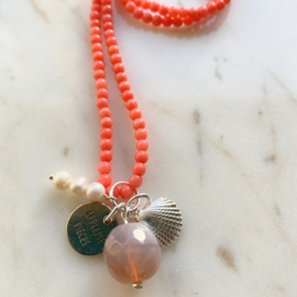 Pink pearl + shell ketting
