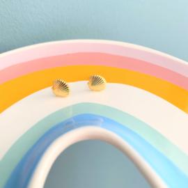 Silver luck oorbellen schelp - goud