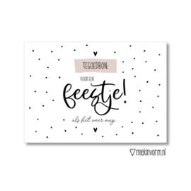 MIEKinvorm ansichtkaart -   Tegoedbon: voor een feestje! als het weer mag ....