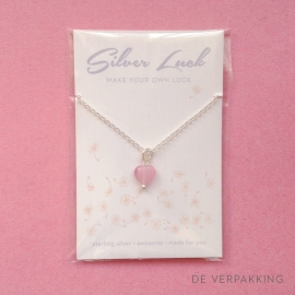 Silver luck pink heart ketting