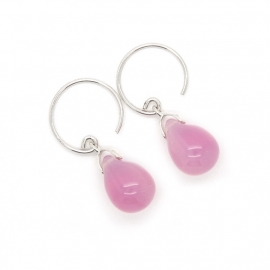 Happy tear oorbellen pink opal