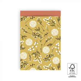 HOP Cadeauzakjes Flowers Big - Yellow / Warm Red- 17 x 25 cm