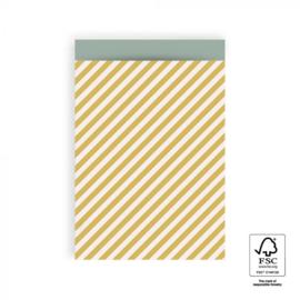 HOP Cadeauzakjes Stripe Diagonal - Yellow - 17 x 25 cm