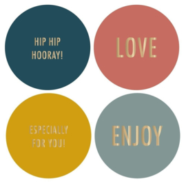 HOP Stickers Multi - Colour Text Gold