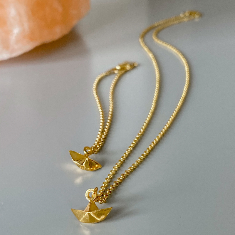 Row your boat ketting - goldplated