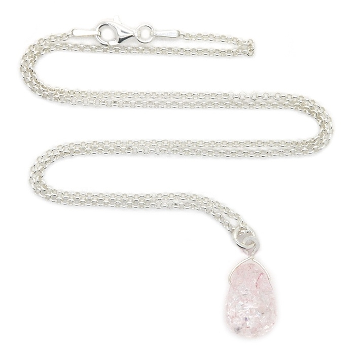 Silver luck crystal drop ketting