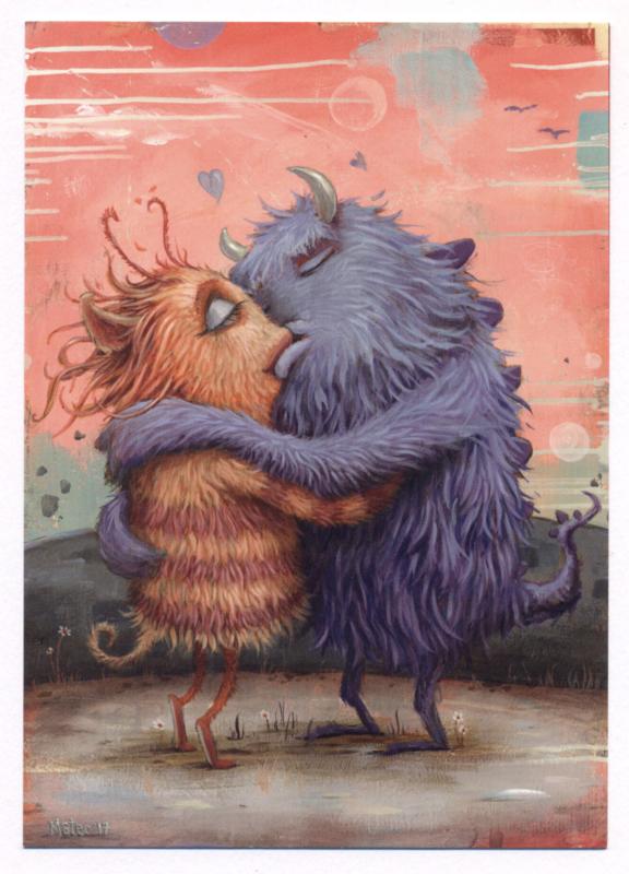 Zozoville ansichtkaart 'Fuzzy Feelings'