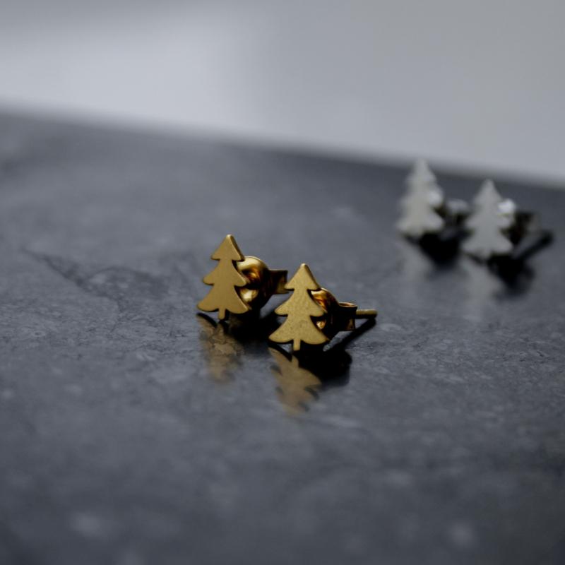 Silver luck kerstboom oorbellen gold-plated