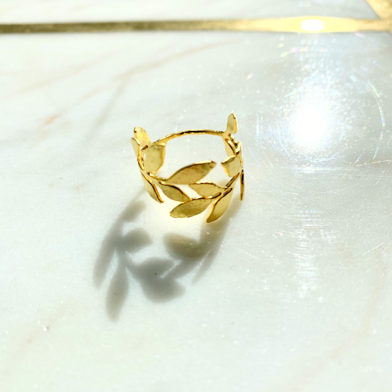 Silver luck laurier ring - gold