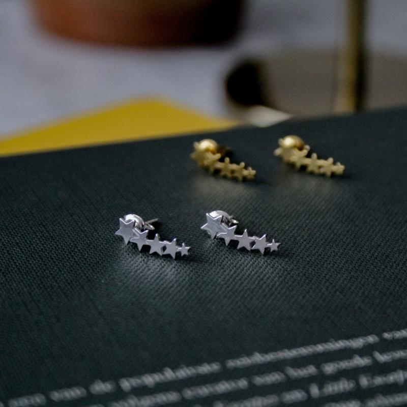 Silver luck stars oorbellen .925 zilver