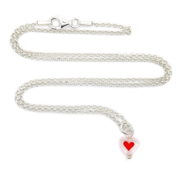 Silver luck poppy heart ketting