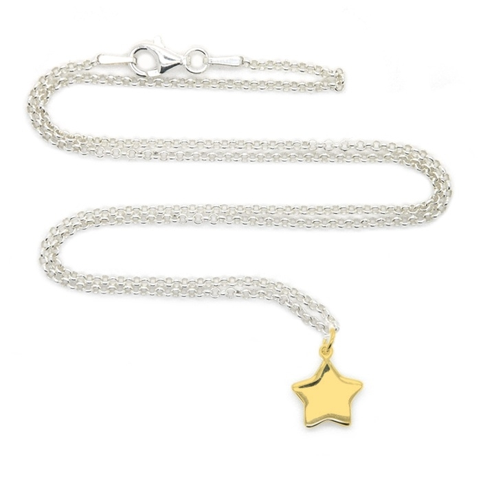 Silver luck stardust gold ketting