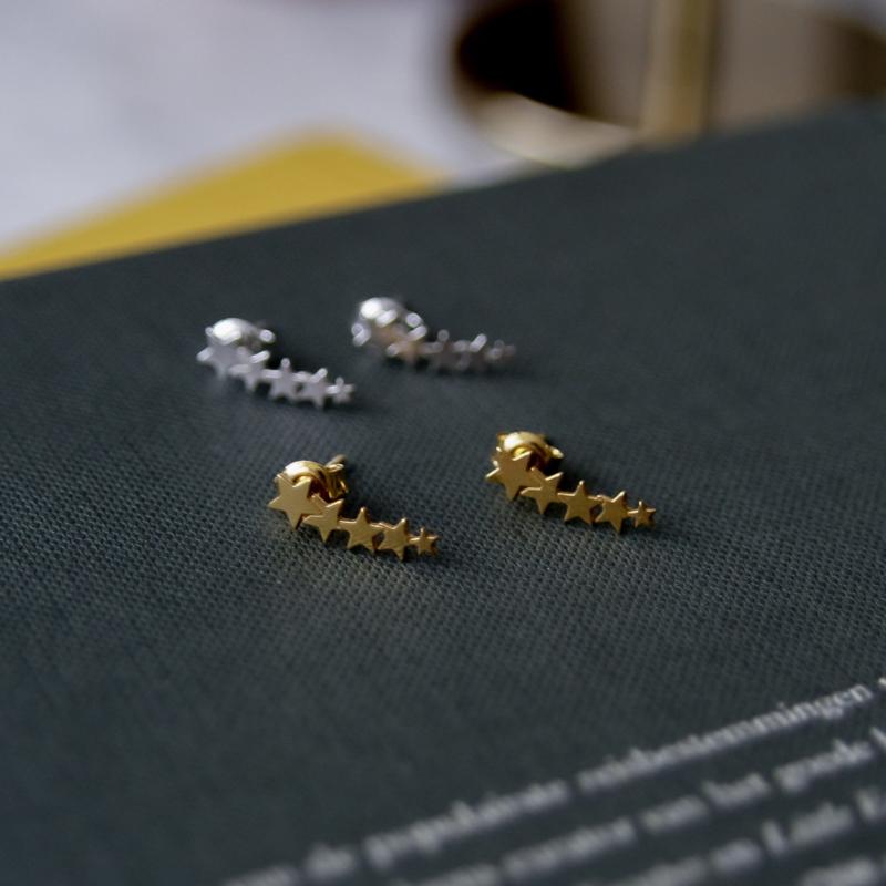 Silver luck stars oorbellen gold-plated
