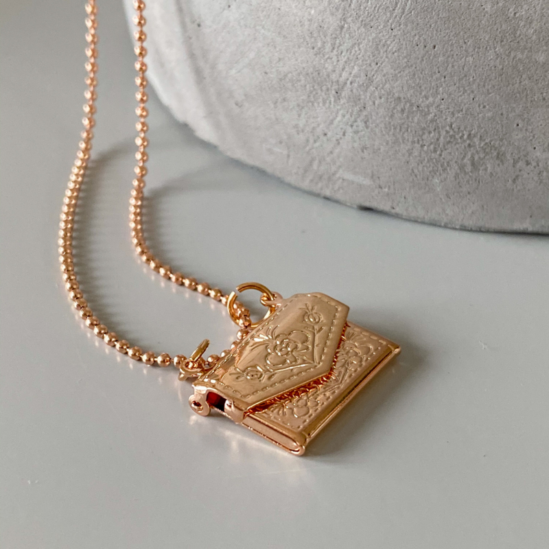 Rosegold  message ketting