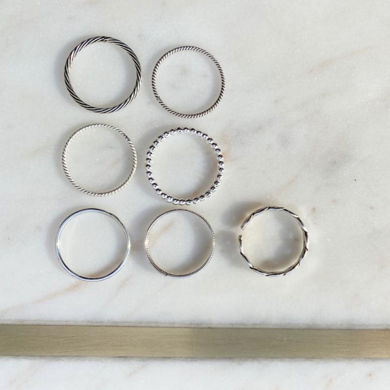 Silver luck ringen - set (7 stuks)